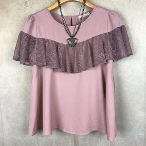 Hazel | Lace Ruffle Top | Mauve | Small